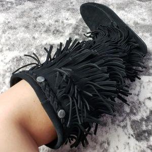 Minnetonka Knee High Fringe Leather Zip Up